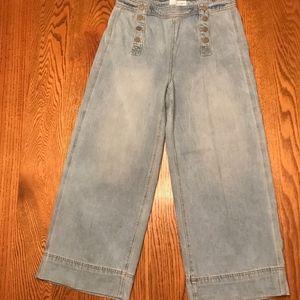 LOFT wide leg, cropped jeans, light wash, 10